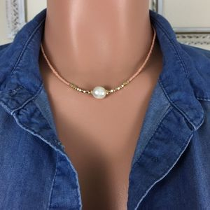 Simple Peach & Gold Beads - Center Pearl Necklace